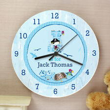 Childrens Personalised Pirate Bedroom Clock - Ideal For Boys Room - Add Name