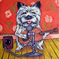 cairn terrier GUITAR dog ceramic art tile coaster gifts