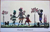 Kaskeline/Artist-Signed 1920 Silhouette Postcard: Children & Dog in Garden
