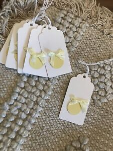 """Natural Merry Christmas Lemon / Pale Yellow Bauble  """" X 6 Gift Tags"""