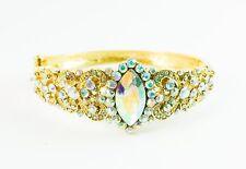 AB Aurora Borealis Gold Bracelet Bangle Wedding Bride Pageant Prom Showgirl