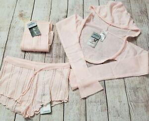 Pink Dance Ballet Workout Warm-ups Outfit Sweater, Shorts, Leg Warmers Medium