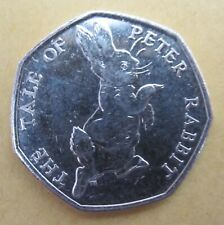 Golf Ball Green Marker 50P Coin - 2017 depicting Peter Rabbit (ref 4466)