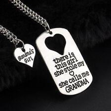 GRANDMA'S GIRL 2 PIECE NECKLACE SET GRANDDAUGHTER GIFT CHARM PENDANT SET #KC11