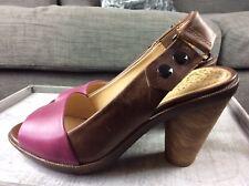 "Clarks Uk 4.5 Peep Toe Sling Back Leather 3"" Heel Shoes Sandals Vgc S4"