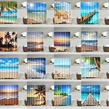 Blue Sun Sea Beach Pattern Fabric Waterproof Bathroom Shower Curtain With Hooks