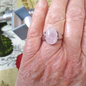 New age Natural Rose Quartz Silver Tone Ring, Size R New with tags