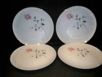 "4 CONTOUR CHINA ""ACCENT"" DINNER PLATES  LONG STEM PINK ROSE DESIGN  JAPAN"