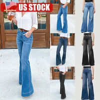 Womens Flare Denim Jeans Bell Bottom Stretch High Waist Pants Boot Cut Trousers
