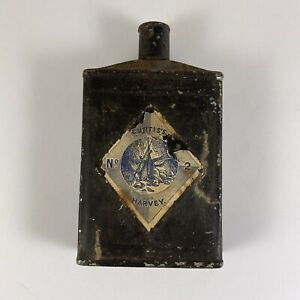 Old Curtis's & Harvey London No 2 Empty Gunpowder Tin Flask Canister with Cap