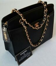 AUTHENTIC CHANEL CAVIAR LEATHER DOUBLE CHAINS HANDBAG BLACK MADE IN FRANCE MINT