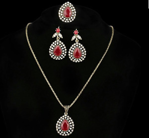Turkish Style Gift Set Austrian Crystal Ancient Bronze Necklace Ring Earrings