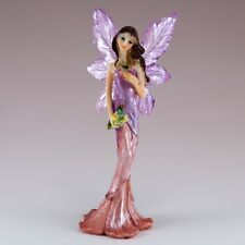 "Mini Purple and Pink Feather Wing Fairy Figurine 4.5"" High Resin New!"