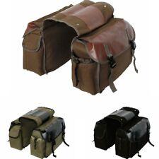 Bike Double Panniers Bag Canvas Bicycle Rear Seat Storage Trunk Bag Travel
