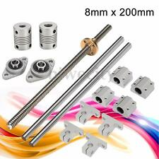 15pcs 8mm 200mm CNC Lead Screw Rod Linear Shaft Rail Bearing Slide Block Support