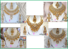 Largest Wholesale Lots Of 5 New Designer Gold Plated Wedding Necklaces Jewelery