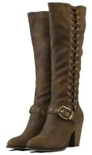 Women Fashion Tie Up Style Knee High Winter Boots High Thick Heels Golden Buckle