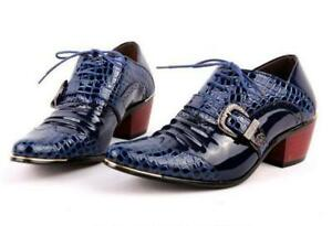 Men's Pointed Toe Patent Leather Buckle Lace Up Gothic Cuban Heels Dress Shoes