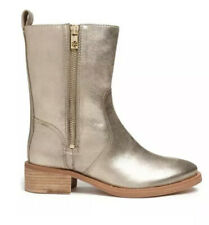 Tory Burch Halle Leather Boots Metallic Women Sz 10 M 2282