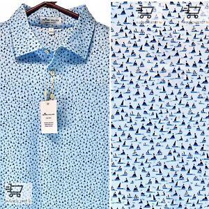 PETER MILLAR Crown Sport Summer Comfort Golf Polo Shirt Sailboat Blue⛳️ M MEDIUM