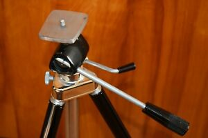 "Vintage DREXEL Black/Chrome Tripod - Extends to 70"" with Center Post"