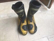 Frank Thomas Black/Yellow Leather Motorcycle Boots Size UK 10