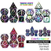 7Pcs/Set Colorful Heavy Metal Polyhedral Dice For DND RPG MTG Board Game + Bag