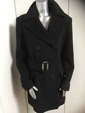 L.K. Bennett Pure Wool Black Belted Short Winter Coat Jacket Size 14