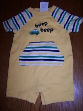 NWT GYMBOREE AUTO BABY Yellow BEEP BEEP SHORTALL ROMPER 3-6 MO Free US Shipping