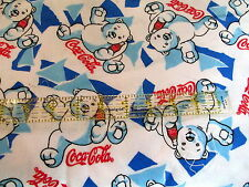 Coca Cola FLANNEL FABRIC white polar bear COKE half yard cut 1/2