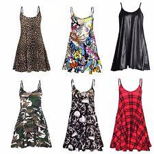 NEW WOMENS LADIES CAMO TARTAN LEOPARD PRINT CAMI SWING DRESS TOP PLUS SIZE 8-26