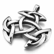 MENDINO Men's Stainless Steel Pendant Chain Necklace Irish Celtic Knot Triquetra