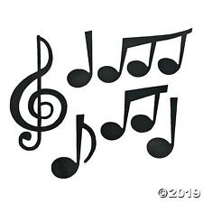 SET OF 6 JUMBO MUSICAL NOTE CARD CUT OUTS - KIDS FUN MUSIC PARTY WALL DECORATION