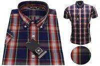 Relco Men's Navy Blue Tartan Short Sleeve Wide Check Button Down Collar Shirt