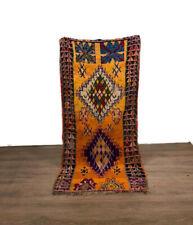 Shaggy Moroccan Handmade Rugs  Carpet Thread  Boucherouite Hallway 95X44 inch