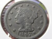 1847 Large Cent - Braided Hair - Extra Fine Cond   Lot# AV-39