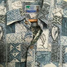 RJC Hawaiian Shirt Mens XL Extra Large Reverse Print Swordfish Blue