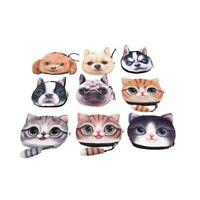 Cartoon Cute 3D Animals Cat Dog Face Zipper Case Coin Purse Wallet Pouch Bag KE