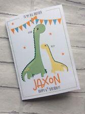 Handmade Personalised Big Brother Birthday Card: Cute Dinosaurs
