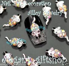 10pcs Nail Art Deco Alloy Jewelry 3D Mouse Multicolor Glitter Rhinestones#EA107