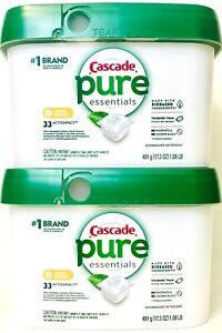 2 Cascade Pure Essentials Lemon Essence 33 Count Actionpacs Dishwasher Detergent