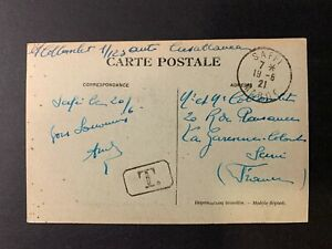 Morocco - Safi City PPC posted unfranked to Italy tied Saffi 1921 w. Tax cachet