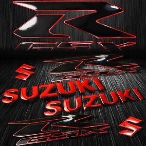 "2x  8"" Logo Decal + 2x 6.25"" GSXR Fairing Emblem Sticker Suzuki 2-Tone Black/Red"