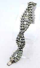 VTG Art Deco Rhodium Silver Tone Clear CZ Rhinestone Twist Bracelet
