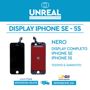 DISPLAY SCHERMO PER IPHONE SE / IPHONE 5S NERO - TOUCH SCREEN RETINA COMPLETO