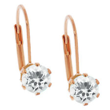 3.00 Ct Round Shape White Cubic Zirconia Rose Gold Plated Brass Earrings