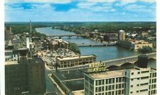 ROCKFORD, ILLINOIS-AERIAL VIEW-BUSINESS SECTION-ROCK RIVER BRIDGES-(ILL-R)