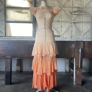 Vintage 1930s Tangerine Flame Orange Ombré Net Maxi Dress Ruffles Puff Sleeves