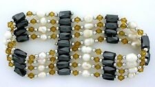 36 Inch Yellow Crystal Hematite Pearl Magnetic Wrap Bracelet Necklace m36bn14