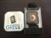 Pack Of Apple iWatch Tempered Glass Screen Protector For 42mm and TPU Case Black